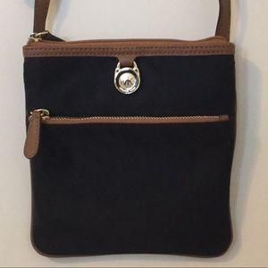 Michael Kors navy and brown nylon purse